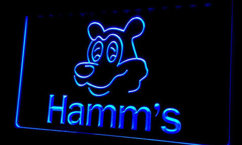 NL059 Hamm's Beer Bear Head Bar NEW Neon Light Signs (blue)