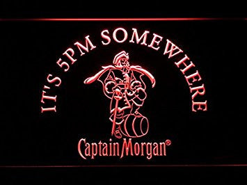 IT's 5 pm Somewhere Captain Morgan Neon Sign (Light. LED. Man Cave. 467-R)