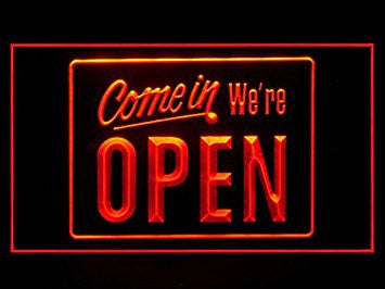 Come In We're Open Restaurant Shop Cafe Led Light Sign