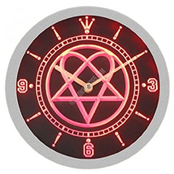 Him Heartagram Rock Music Neon Sign Bar Wall Clock