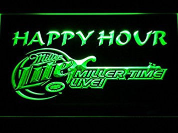 Miller Lite Guitar Happy Hour Neon Sign (Beer. Bar. Light. LED. Man Cave. 606-G)