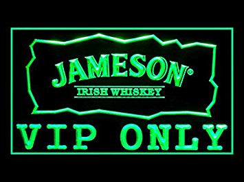 Jameson Irish Whiskey VIP Only Neon Sign (Drink. LED. Light)