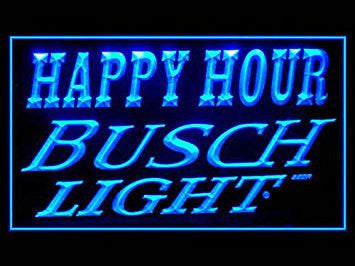 Busch Light Happy Hour Neon Sign (Beer. Drink. LED. Light)