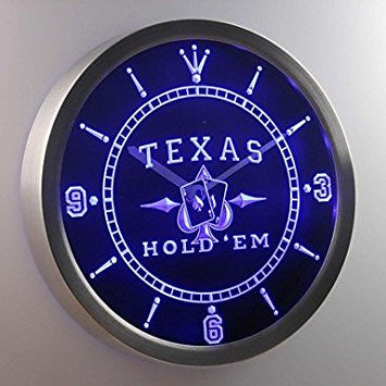 ELA nc0458 Texas Hold'em Poker Casino Neon Sign LED Wall Clock Green