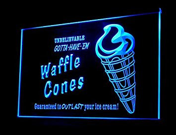 Waffle Cones Ice Cream Dessert Led Light Sign