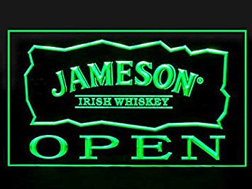 Jameson Irish Whiskey Open Neon Sign (Drink. LED. Light)