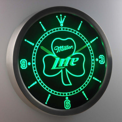 Miller Lite Shamrock 3D Neon Sign LED Wall Clock NC0006-G