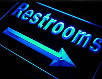 Restrooms Toilet Arrow Right Neon Sign (Light. LED)