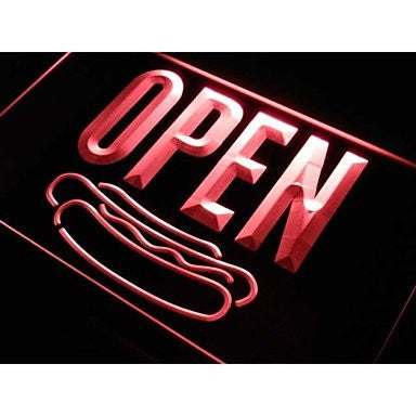 OPEN Hot Dog Neon Sign (Light. Cafe. Shop. Fast food. LED)