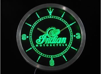 Indian Motorcycle Services Logo Neon Sign LED Wall Clock
