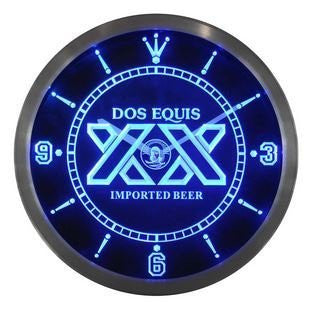 Dos Equis Beer Bar Pub Neon Sign LED Wall Clock