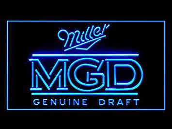 Miller MGD Genuine Draft Neon Sign (Beer Bar. LED. Light)