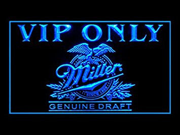 Miller Genuine Draft Beer VIP Only Neon Sign (Drink. LED. Light)