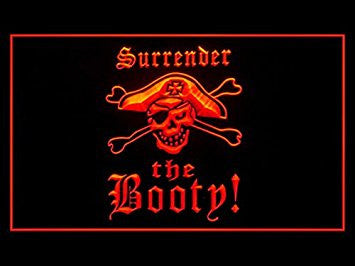 Surrender The Booty Pirate Bar Display Led Light Sign