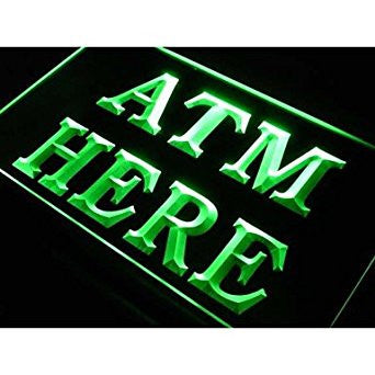 BuW ATM Here Money Machine Lure Shop Neon Light Sign. led lights cool night l...