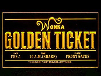 Willy Wonka Golden Ticket Led Light Sign