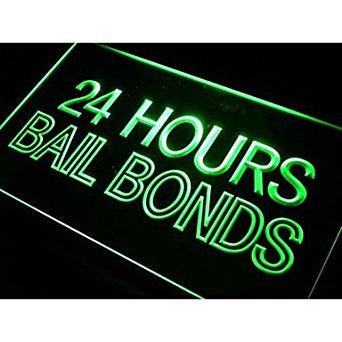Bail Bonds 24 Hours Neon Sign (Light. LED)