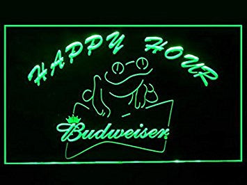 Budweiser Frog Beer Happy Hour Drink Led Light Sign