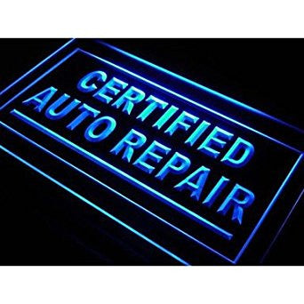 BuW Certified Auto Repair Car Shop Neon Light Sign. lighting direct cool nigh...