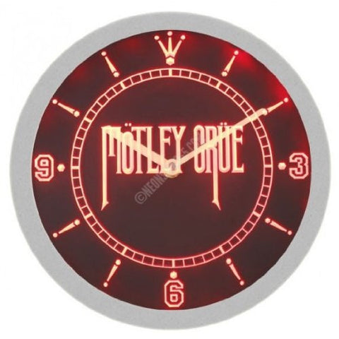 Motley Crue Metal Rock Music Neon Sign Bar Wall Clock