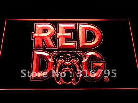 Red Dog Beer Bar Logo LED Neon Sign