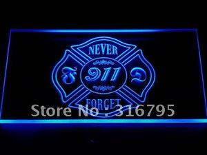 Never Forget 911 Firefighter Fire Dept Light Sign