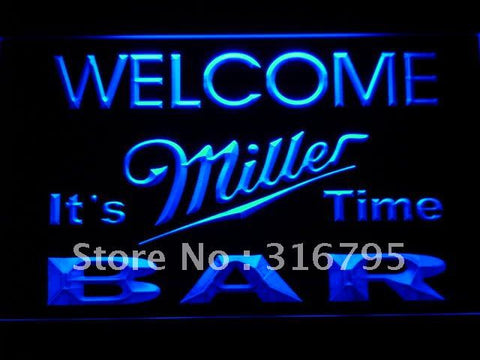 BAR Welcome Miller Time Beer LED Neon Sign