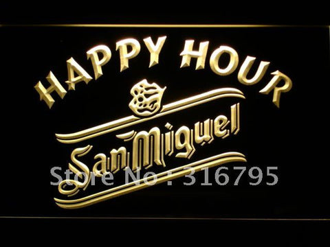 San Miguel Beer Happy Hour Bar LED Neon Sign