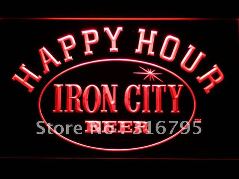 Iron City Beer Happy Hour Bar LED Neon Sign