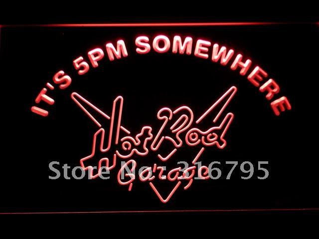 It's 5 pm Somewhere Hot Rod Garage LED Neon Sign