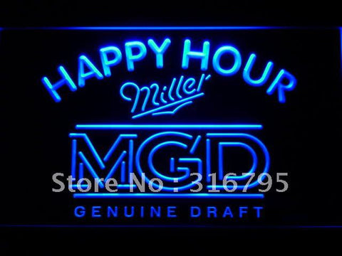 Miller MGD Beer Happy Hour Bar LED Neon Sign