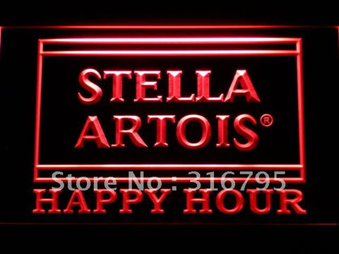 Stella Artois Happy Hour Beer Bar LED Neon Sign