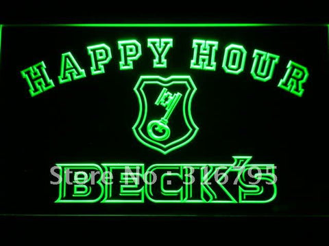 Beck's Beer Happy Hour Bar LED Neon Sign