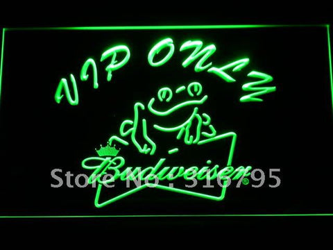 Budweiser Frog VIP Only Bar LED Neon Sign