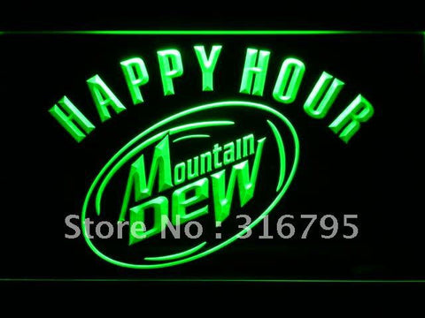 Mountain Dew Happy Hour Beer Bar LED Neon Sign