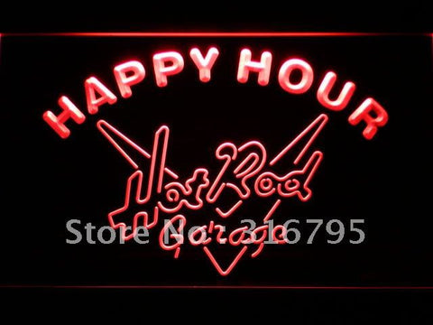 Hot Rod Garage Happy Hour Bar LED Neon Sign