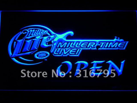 Miller Lite Time Live Beer OPEN LED Neon Sign