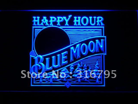 Blue Moon Beer Happy Hour Bar LED Neon Sign