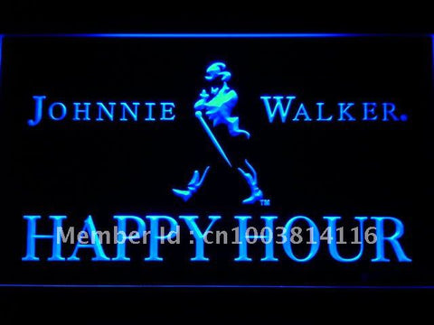 Johnnie Walker Happy Hour Bar LED Neon Sign