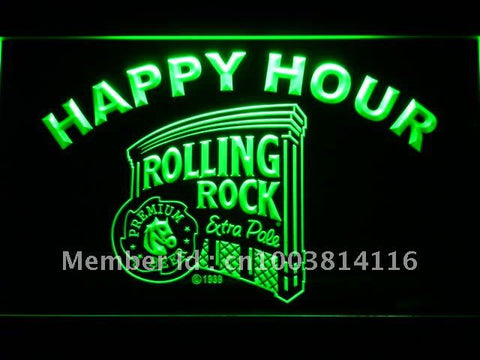 Rolling Rock Beer Happy Hour Bar LED Neon Sign