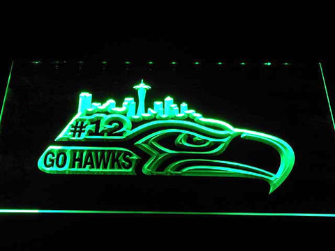 Seattle Seahawks Go Hawks 12 Man Bar LED Neon Sign