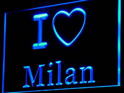 I Love Milan Bar Beer Display Decor Neon Light Sign