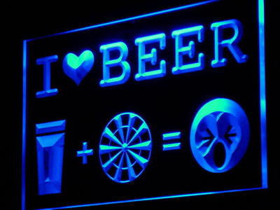 I Love Beer Dart Cup Bar Pub Decor Light Sign