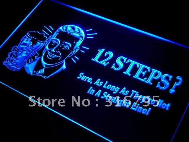 12 steps? after drinking beer LED Neon Light Sign