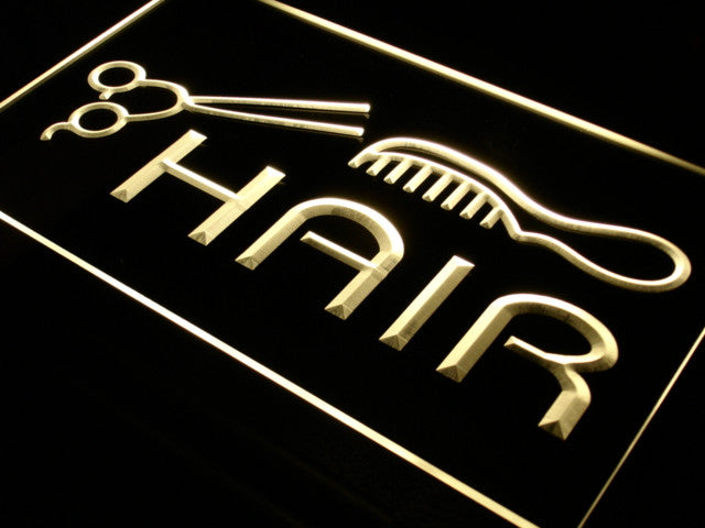 Hair Cut Salon Comb Scissor LED Neon Light Sign