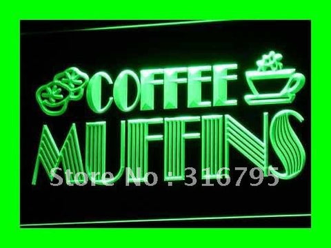 OPEN Coffee Shop Muffins Cafe LED Neon Light Sign