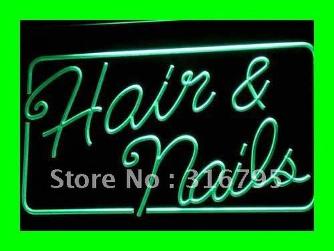 OPEN Hair & Nails Beauty Salon LED Neon Light Sign
