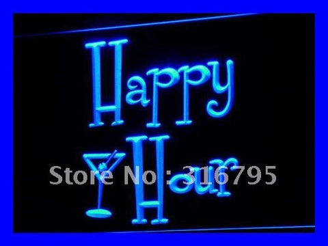 Happy Hours Bar Pub OPEN Beer LED Neon Light Sign