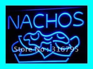 NACHOS Mexican Food OPEN Bar Pub LED Neon Light Sign