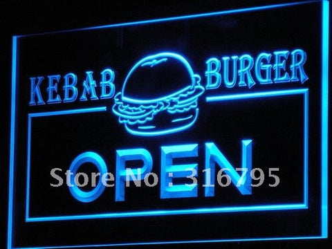 OPEN Kebab Burger Cafe Fast Food LED Neon Light Sign